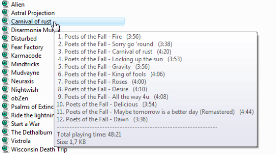 Winamp Playlist Preview