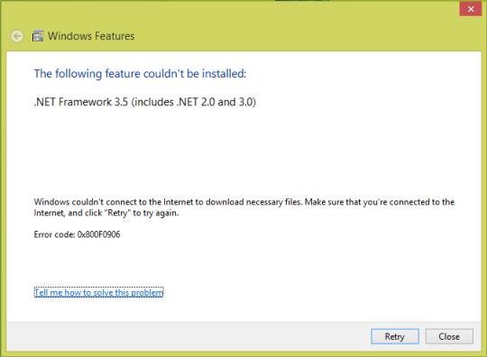Windows 8 Features Download Fix