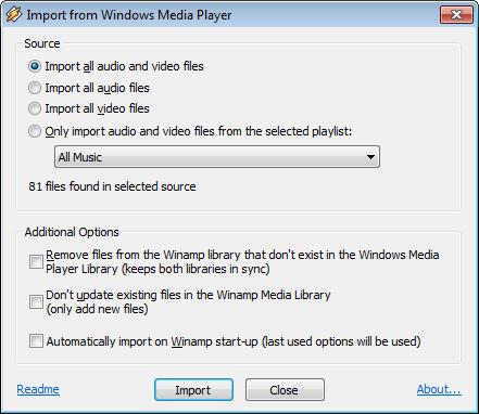Windows Media Player Import for Winamp