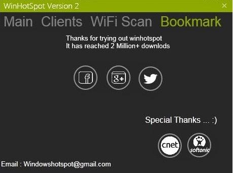Бесплатно скачать Winhotspot WiFi Router для Windows