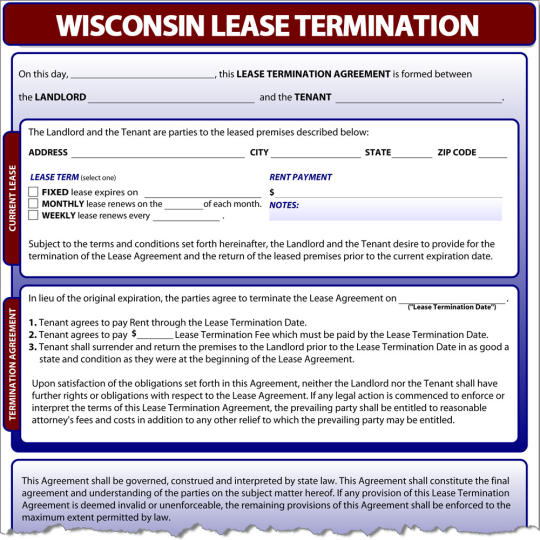 Wisconsin Lease Termination
