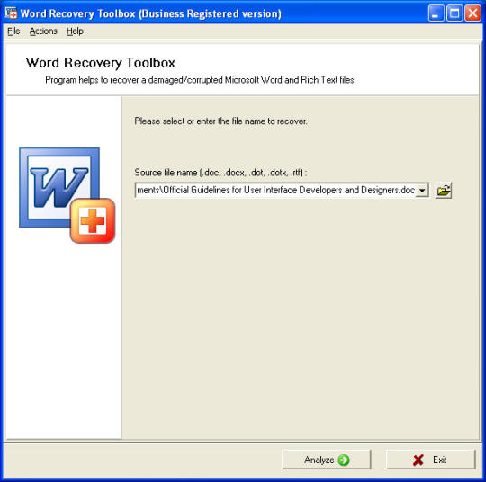 Word Recovery Toolbox