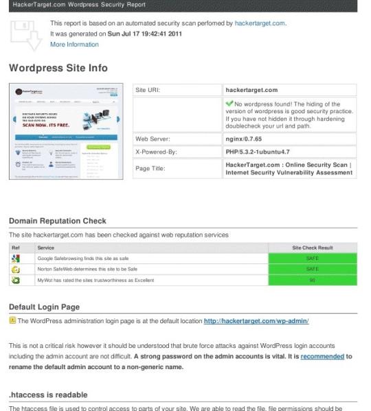 WordPress Security Scan from HackerTarget.com