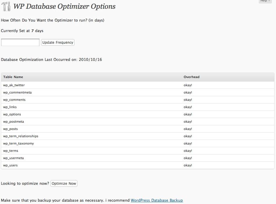 WP Database Optimizer