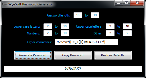 WyeSoft Password Generator