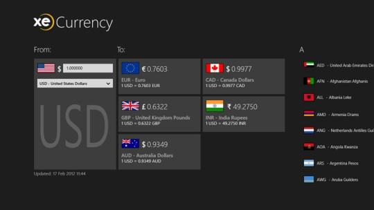 XE Currency for Windows 8