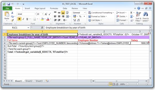 XLS Processor Engine for Oracle BI Publisher