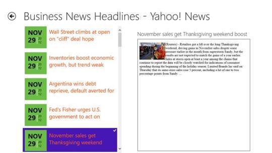 Yahoo! Business News for Windows 8
