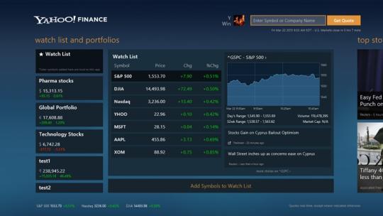 Yahoo Finance for Windows 8