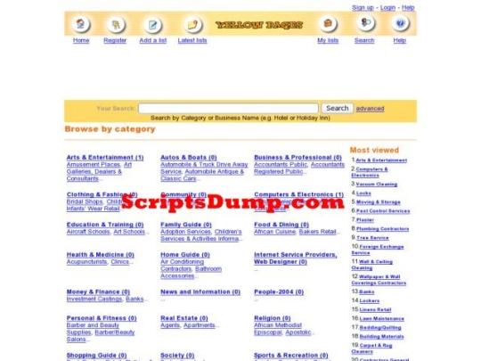 Yellow Pages Script PHP ScriptsDump