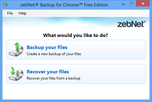 zebNet Backup for Chrome Free Edition