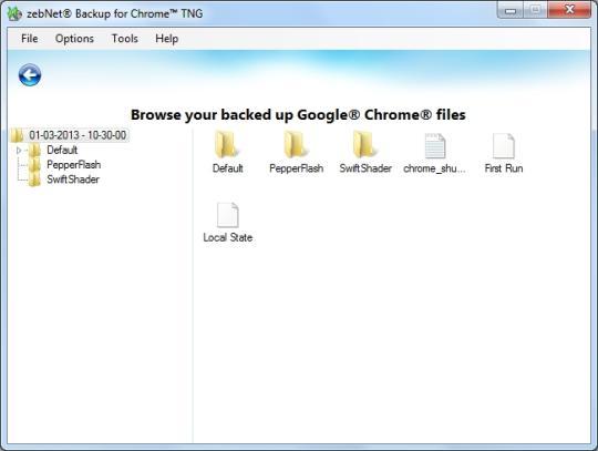 ZebNet Backup for Chrome TNG