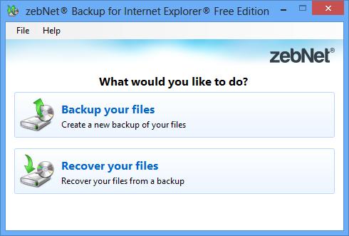 zebNet Backup for Internet Explorer Free Edition