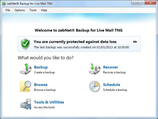 zebNet Backup for Live Mail TNG