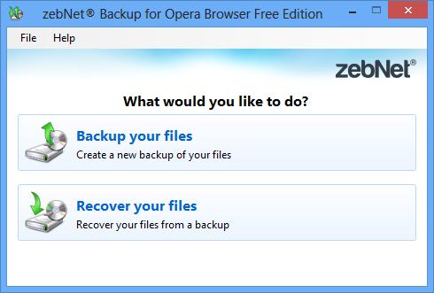 zebNet Backup for Opera Browser Free Edition