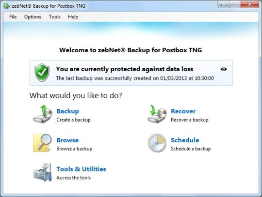 zebNet Backup for Postbox TNG