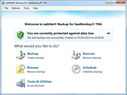 zebNet Backup for SeaMonkey TNG
