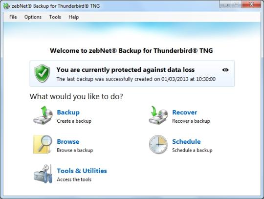 zebNet Backup for Thunderbird TNG