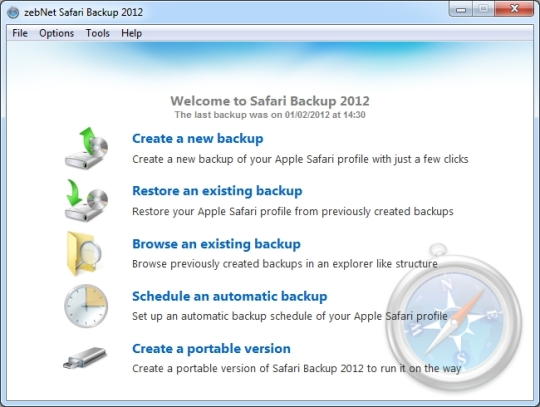 ZebNet Safari Backup 2012