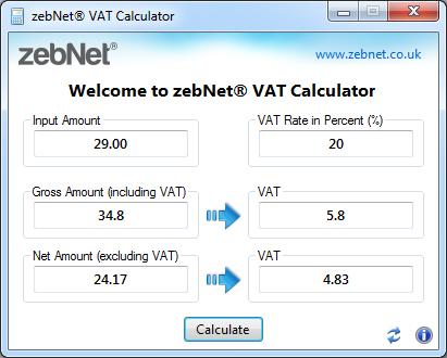 ZebNet VAT Calculator